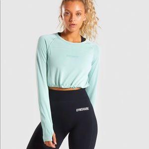 Gymshark Green Seamless Long Sleeve Crop Top S